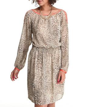 DJP OUTLET - Contrast Cold Shoulder Cheetah Print Dress