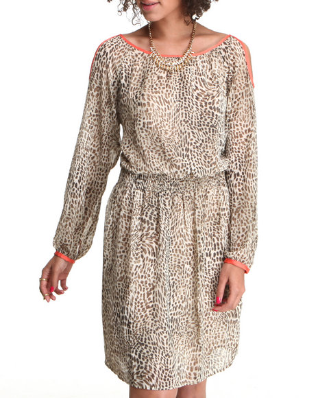 Djp Outlet - Women Animal Print Contrast Cold Shoulder Cheetah Print Dress