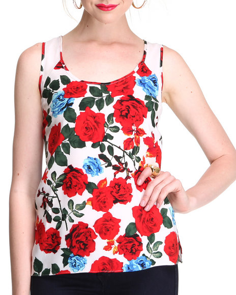Djp Outlet - Women Multi Rose Print Tank