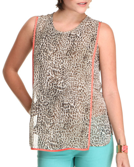 Djp Outlet - Women Animal Print Contrast Trim Cheetah Blouse W/ Bib Front Panel - $20.00
