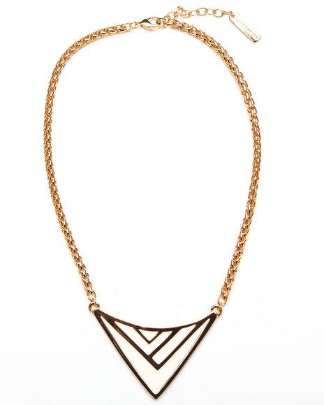 Djp Outlet Women Enamel Chevron Necklace Gold