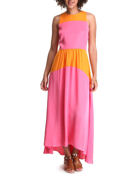 Djp Outlet - Women Orange High Low Color Block Maxi Dress