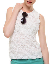 Women - Sleeveless Rose Lace Blouse