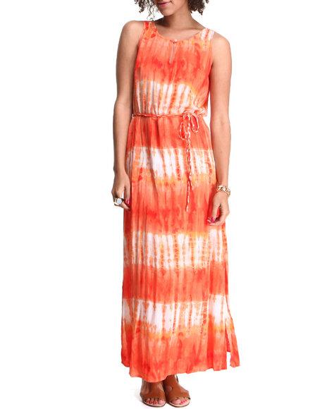 Djp Outlet - Women Orange Tie Dye Maxi Dress