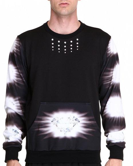 Djp Outlet - Men Black Keenkeee 20 Crystal Diamond Stripe W/ Pocket Sweatshirt