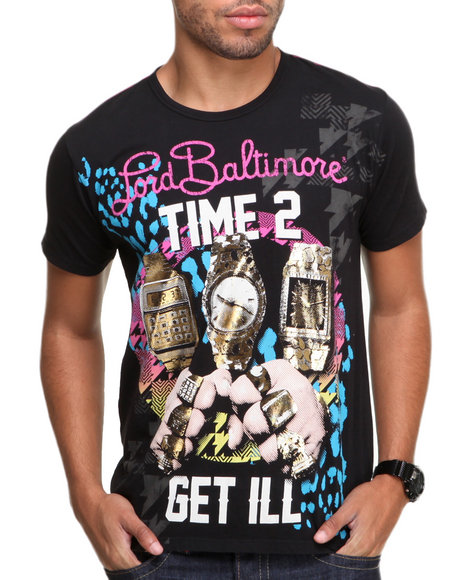Djp Outlet - Men Black Lord Baltimore Gold Rush Foil Tee
