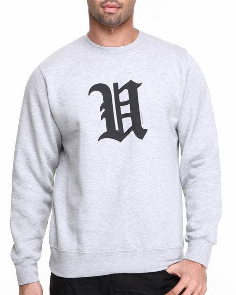 Djp Outlet - Men Grey Undftd U Basic Pullover Crew Sweatshirt Grey Heather