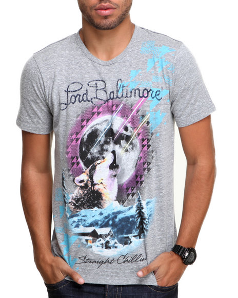 Djp Outlet - Men Grey Lord Baltimore Howl Tee - $33.99