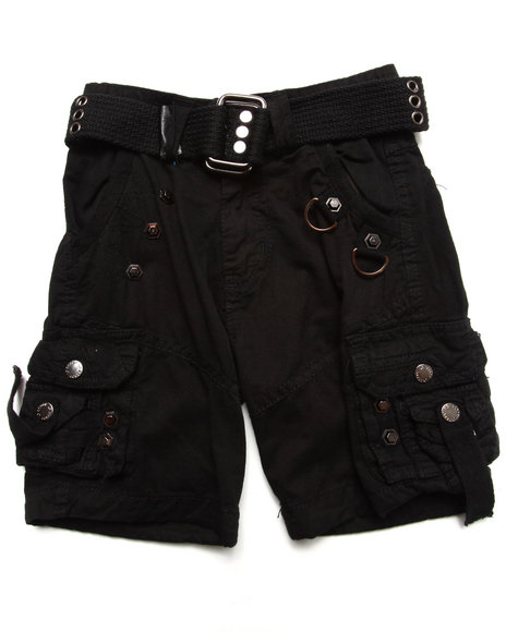 Arcade Styles Boys Black Belted Cargo Shorts (2T-4T)