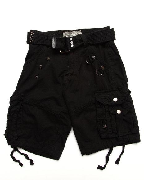 Arcade Styles Boys Black Belted Cargo Shorts (4-7)
