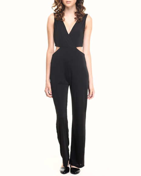 Fashion Lab - Women Black Criss Cross Side Cutout Jumpsuit
