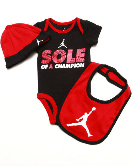 Air Jordan - Boys Black 3 Pc Set - Onesie, Bib, & Hat (Newborn)