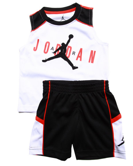 Air Jordan - Boys White 2 Pc Set - Muscle Tee & Shorts (2T-4T)