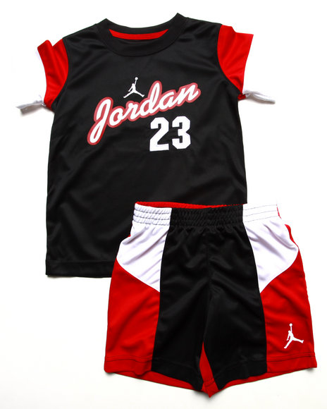 Air Jordan - Boys Black 2 Pc Set - Tee & Shorts (4-7)