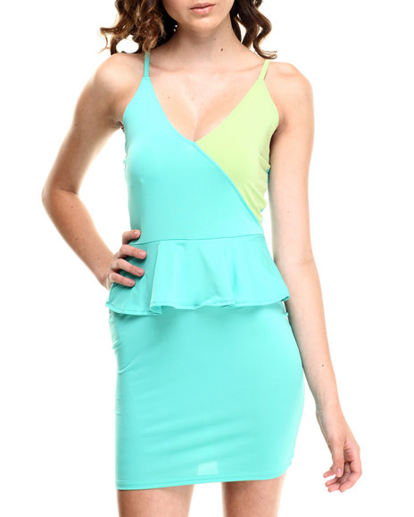 Baby Phat - Women Green Colorblock Peplum Dress
