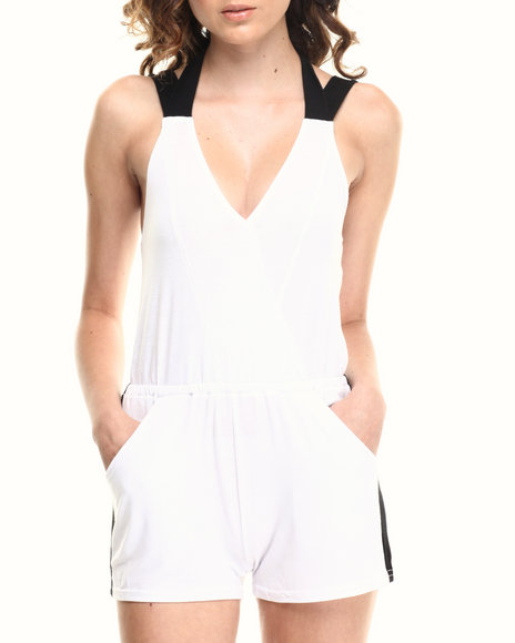 Baby Phat - Women White Colorblock Romper