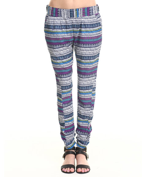 Ali & Kris - Women Multi Multi Stripes Ruched Ankle Soft Pant - $12.99