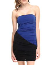 Women - Strapless Sweetheart Colorblock Dress