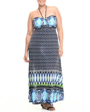 Dresses - Tribal Halter Maxi Dress (Plus)