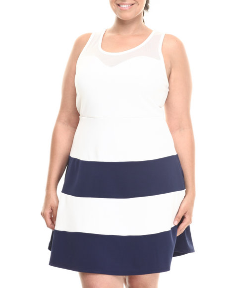Fashion Lab - Women Cream, Navy The Party Girl Dress (Plus)