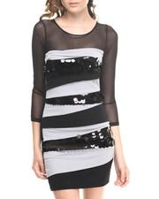 Women - 3/4 Sleeve Fitted Colorblock Dress