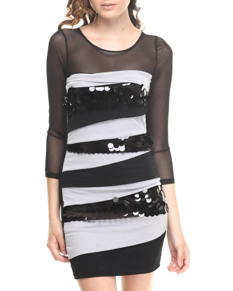 Fashion Lab - 3/4 Sleeve Fitted Colorblock Dress