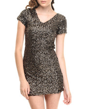 Women - Short Sleeve V-Neck Allover Sequin Dress