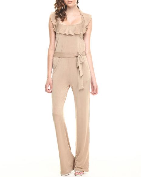 Fashion Lab - Women Khaki Knitted Halter Jumpsuit W/ Belt