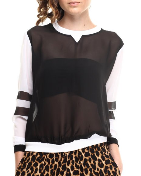 ALI & KRIS Black,White Chiffon Colorblock Sweatshirt