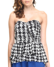 Tops - Houndstooth Zip Front Chiffon Bustier