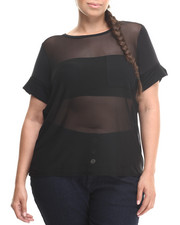 Plus Size - Mesh Back High Low Hem Top (Plus)