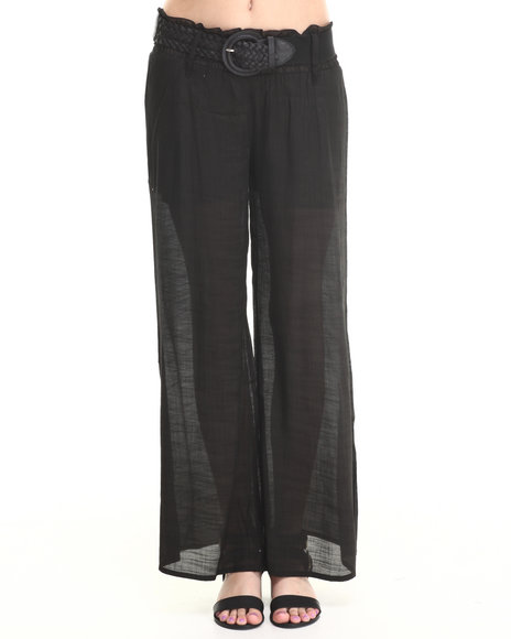 Ali & Kris - Women Black Belted Soft Wideleg Pant