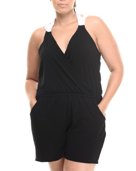 Baby Phat - Women Black Colorblock Romper