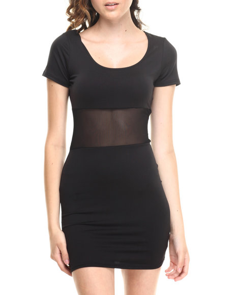 Baby Phat - Women Black Mesh Inserts Scoop Neck Dress