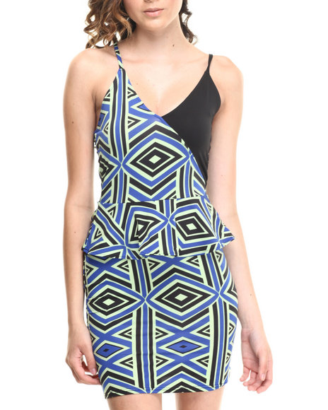 Baby Phat - Women Multi Colorblock Peplum Dress