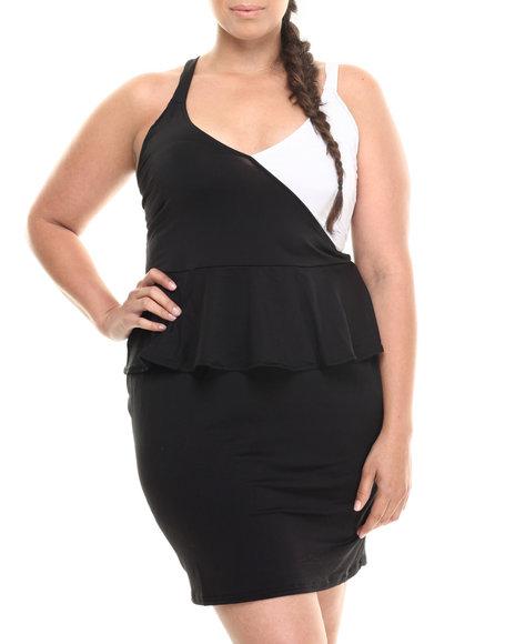 Baby Phat - Women Black,White Colorblock Peplum Dress (Plus)