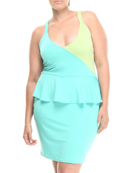 Baby Phat - Women Green Colorblock Peplum Dress (Plus)