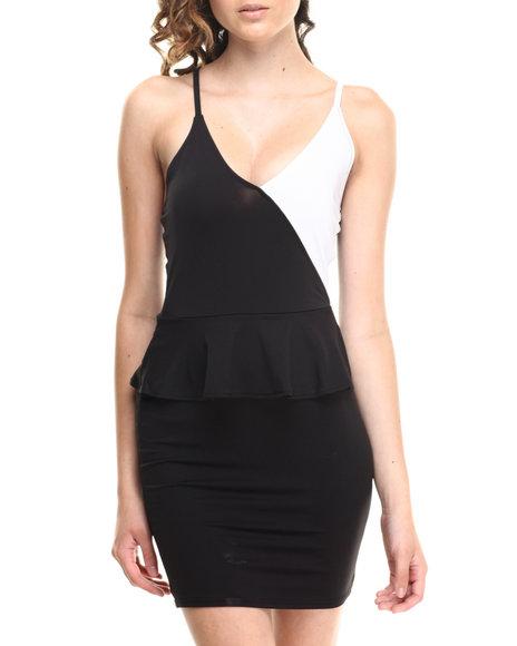 Baby Phat Black,White Colorblock Peplum Dress