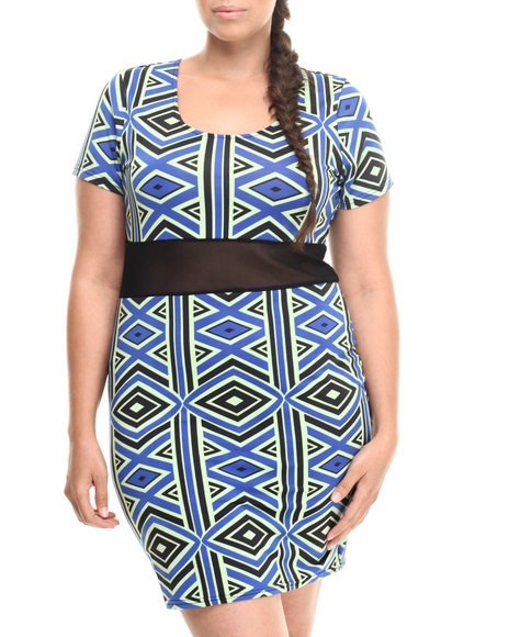 Baby Phat - Women Multi Mesh Inserts Scoop Neck Dress (Plus)