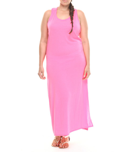 Fashion Lab - Women Pink Lusting For Life Maxi Dress W/Back Detail (Plus) - $12.99