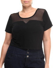 Plus Size - Mesh Back Crop Top (Plus)