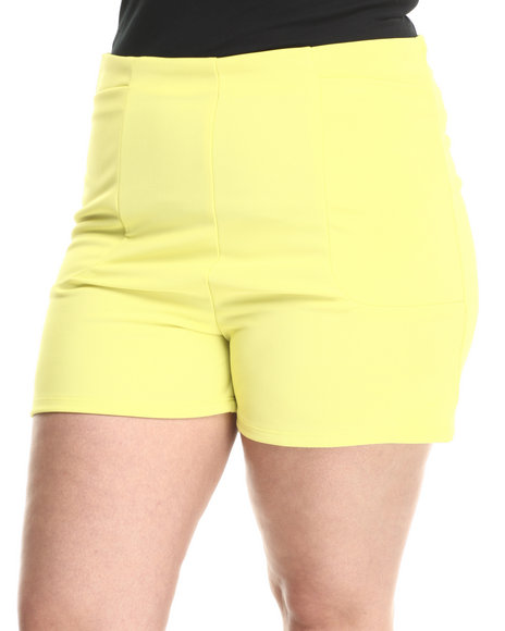 Fashion Lab - Women Yellow Textured High Waisted Short - $6.99