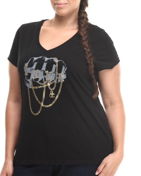 Rocawear Black V-Neck Chain Love Shirt