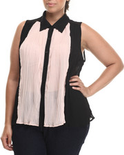 Tops - Colorblock Sleeveless Collared Top (Plus)