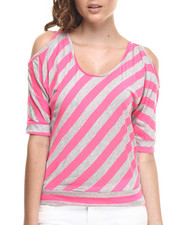 Fashion Lab - Croft Cold Shoulder StripetOP