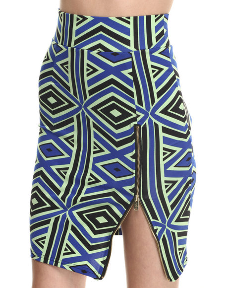 Baby Phat - Women Multi Zip Front Pencil Midi Skirt