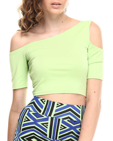 Baby Phat - Women Green One Shoulder Top