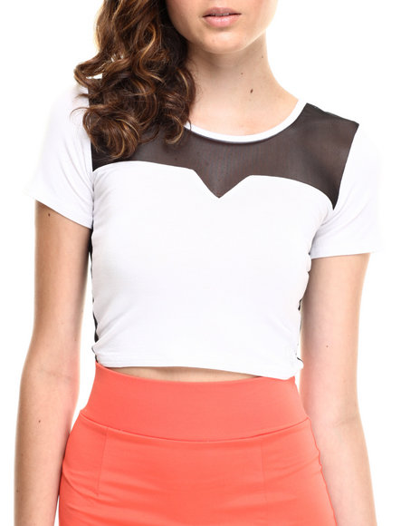 Baby Phat - Women White Mesh Back Crop Top