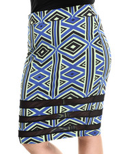 Bottoms - Tribal Print Mesh Inserts Midi Skirt (Plus)