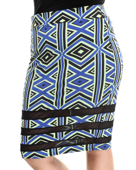 Baby Phat - Women Multi Tribal Print Mesh Inserts Midi Skirt (Plus)